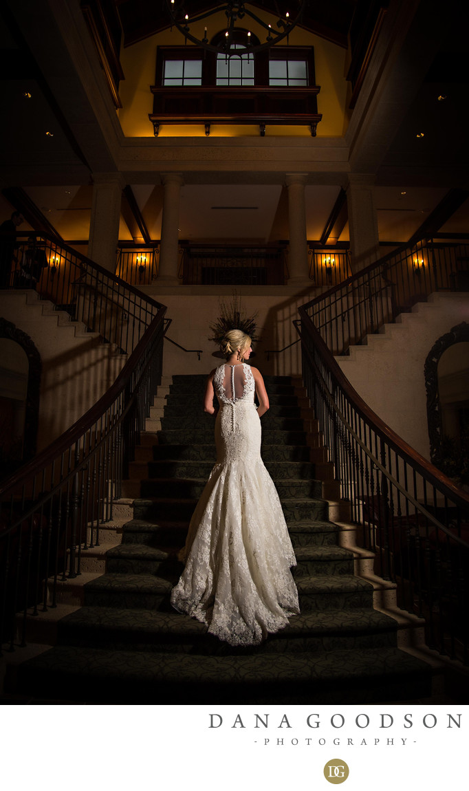 TPC Sawgrass Wedding Photography Bridal Portrait on Stairs