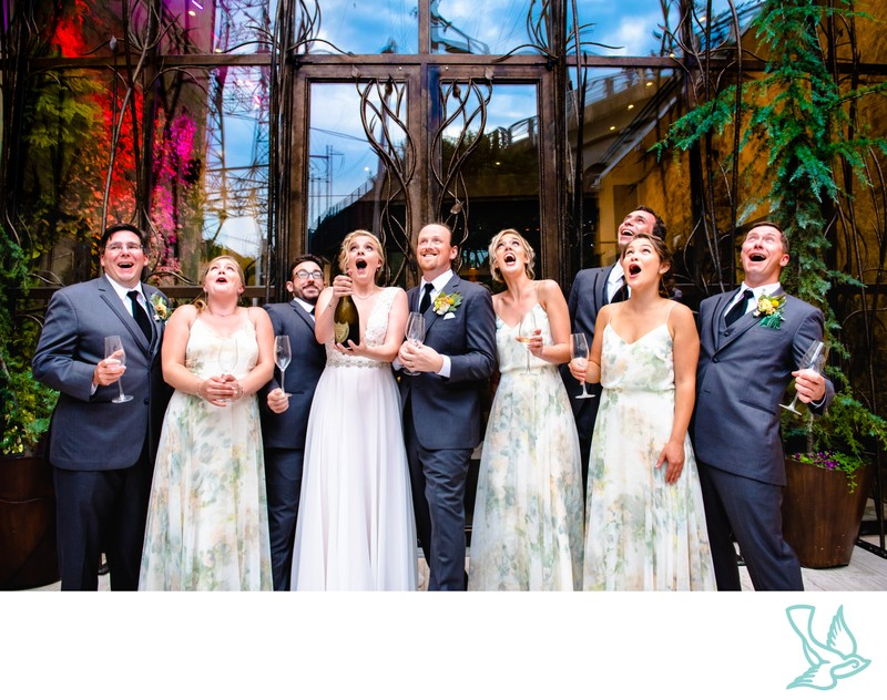 Bridal Party with champagne at Artesano Gallery Wedding