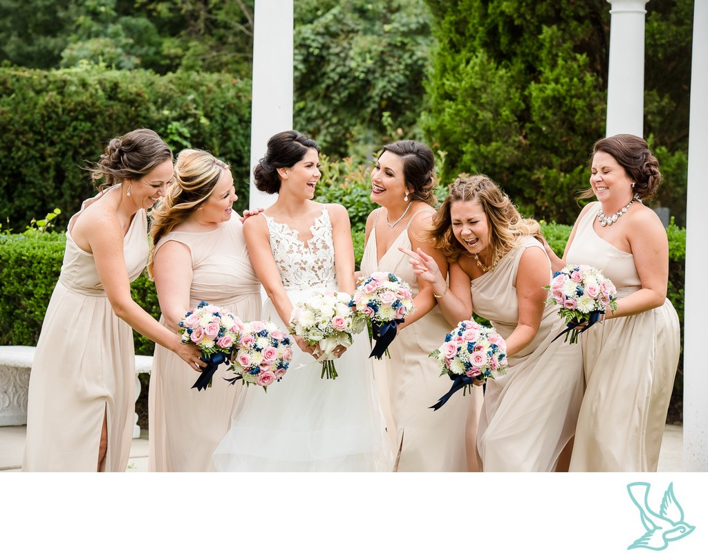 Bride with Bridesmaids at Mansion on Main Street