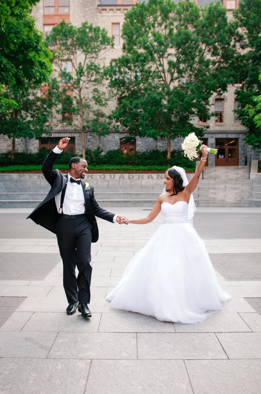 Bride & Groom cheering in University City, Philadelphia