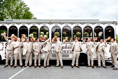 Bridal Party Cheering in Philadelphia Trolleyworks