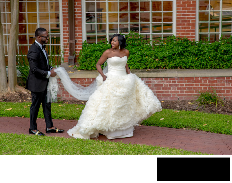 Nigerian bride and groom portraits in Houston