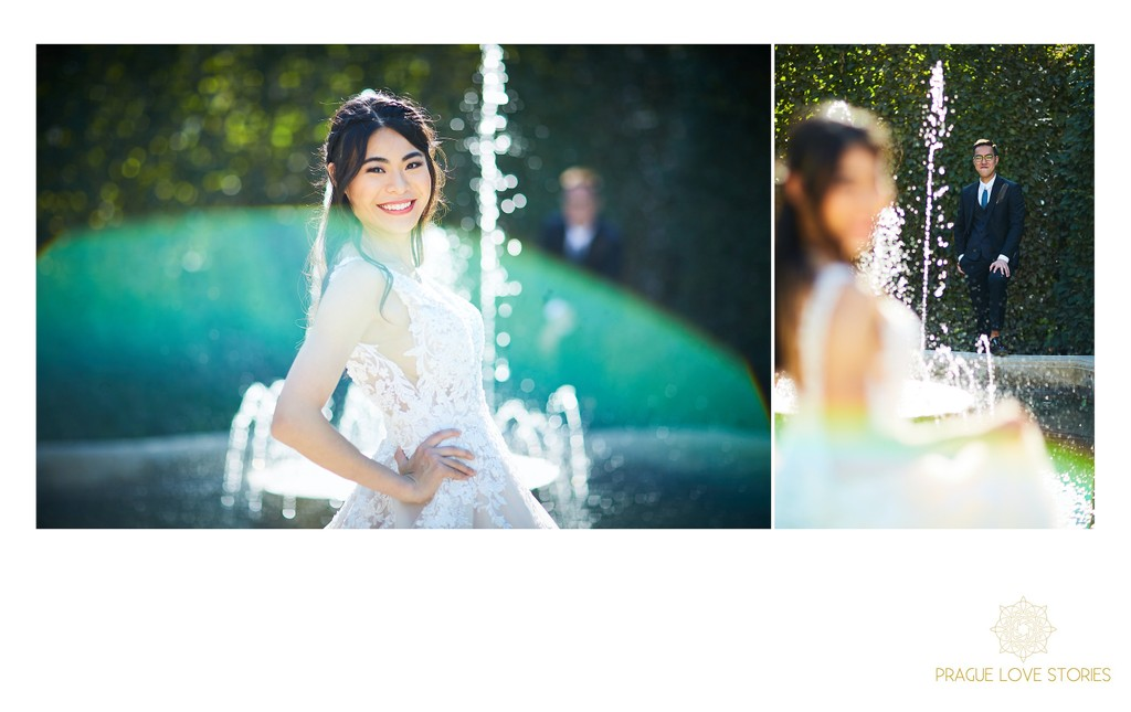sun flared bridal portraits Waldstein Garden Prague