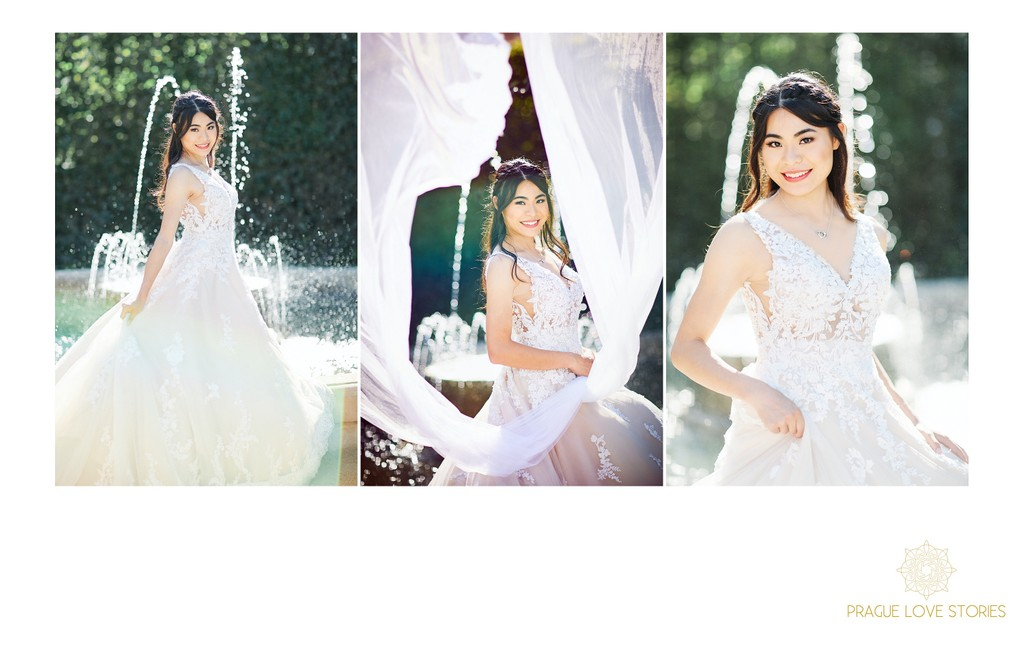 Sun flared bridal portraits at the Wallenstein Garden