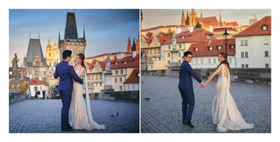 A few sunrise portraits on the Charles Bridge