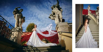 Bridal portraits at the Vrtba Garden
