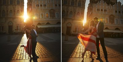 D&A sun flared couple portraits at the Old Town Square