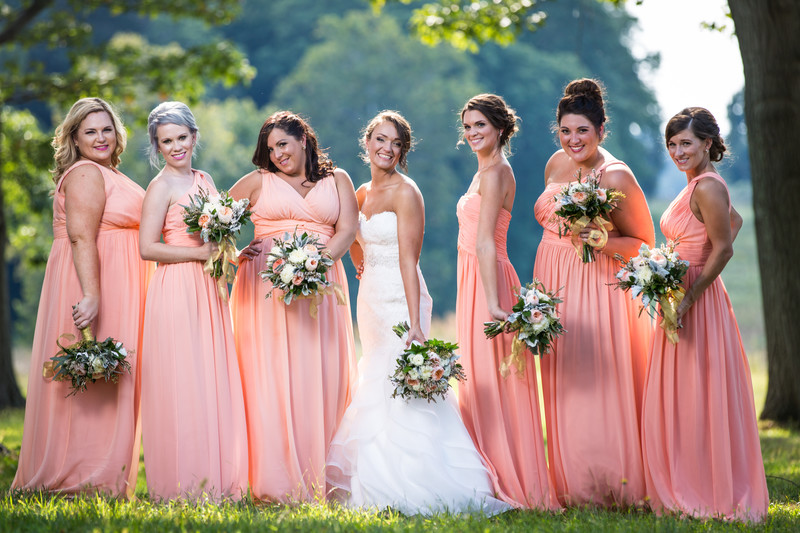 Bridal Party Photos In Valley Forge Park By The Arch