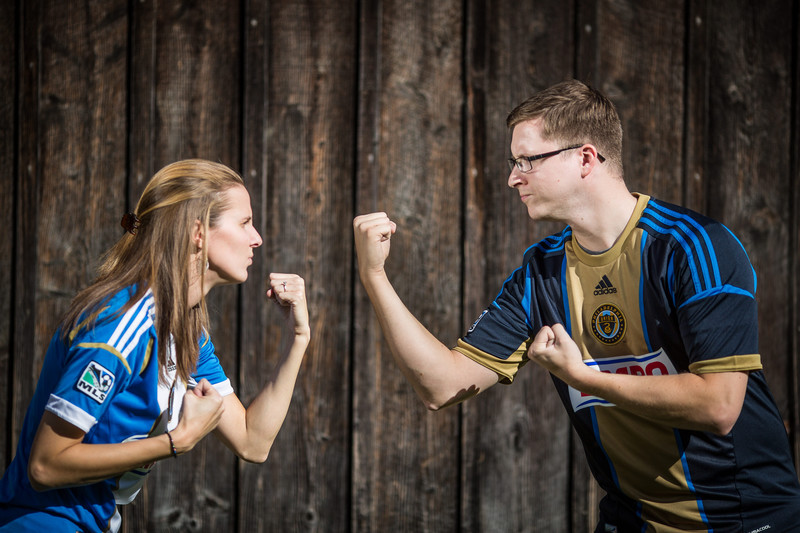 Fun Sports Themed Engagement Session In Philadelphia Engagements