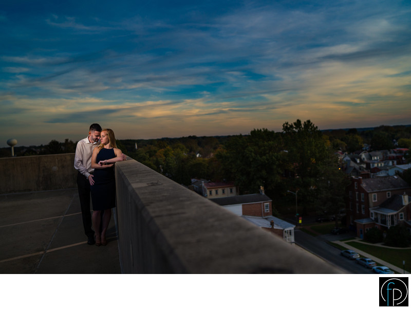 Rooftop engagement photo in West Chester Pennsylvania