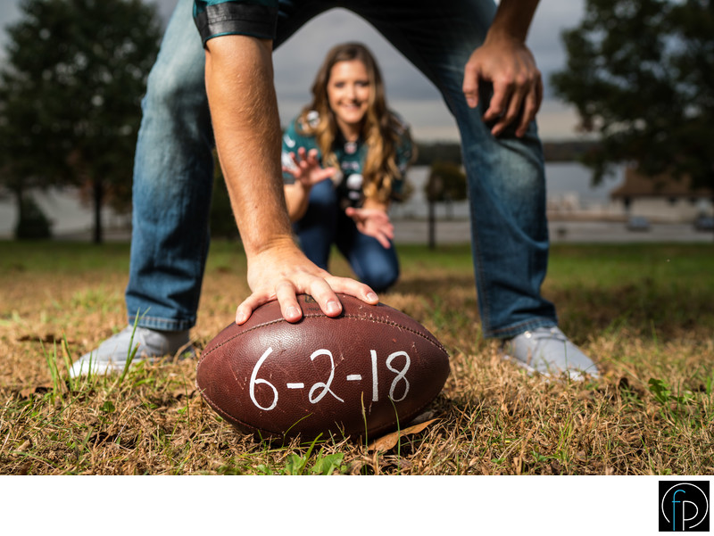Engagement Session With Football Save The Date