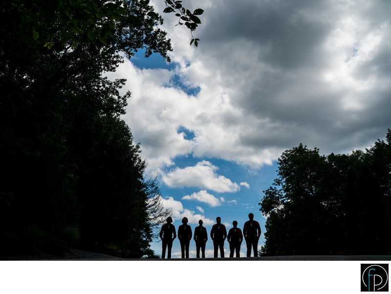 Groomsmen Silhouette At Their Stroudmoor Inn Wedding