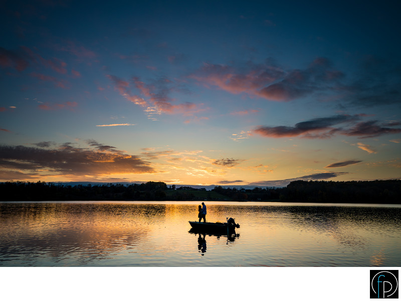 Engagement Session At Marsh Creek On A Boat At Sunset