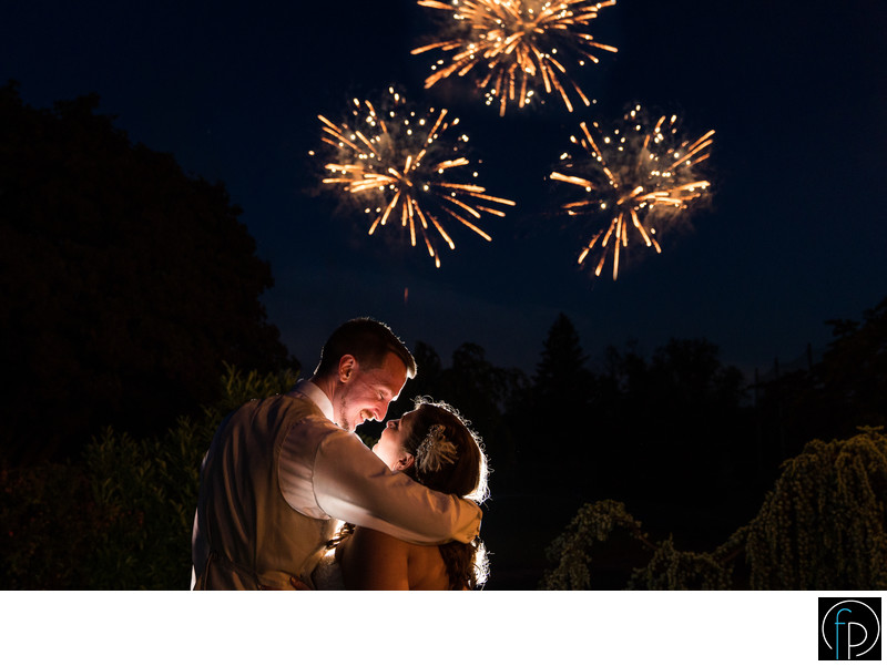 Fireworks At A Summer Penn Oaks Wedding