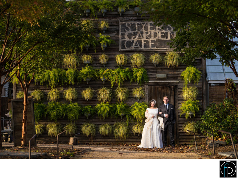 Bride and Groom Portrait At Their Terrain Wedding