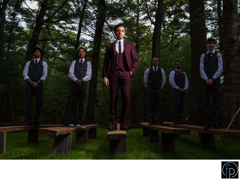 Groomsmen Portrait At Pennsylvania Outdoor Ceremony