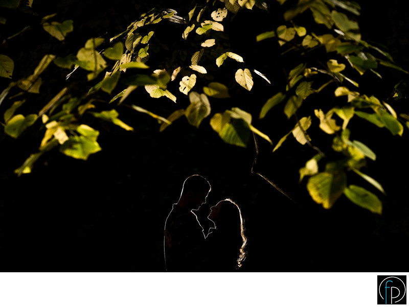 Creative Photo At A Wissahickon Park Engagement Session