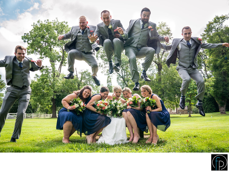 Fun Wedding Party Photo At The Anthony Wayne House