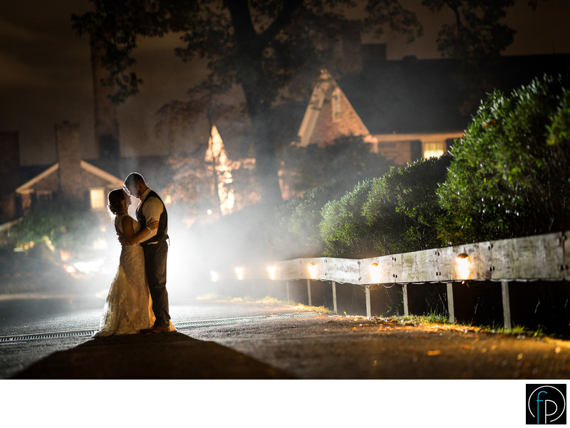 Manufacturers Golf Club Wedding Portrait at Night