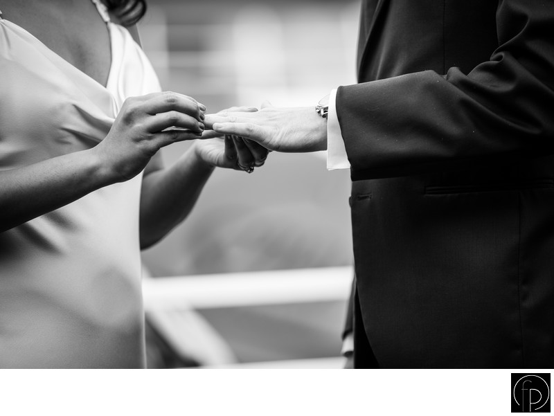 Ring Exchange At A Philadelphia Waterfront Wedding