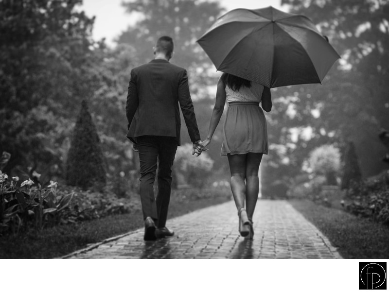Raining Engagement Portrait at Longwood Gardens