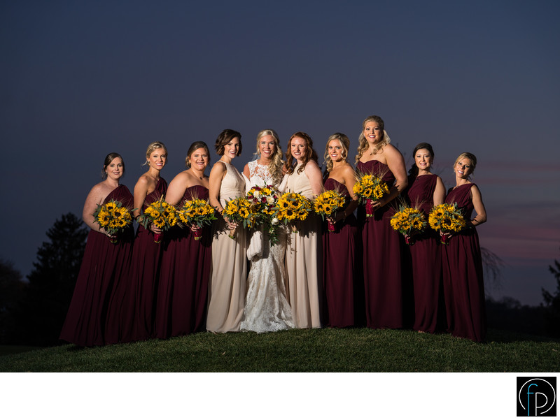 Bridal Party Portrait At A Penn Oaks Winter Wedding