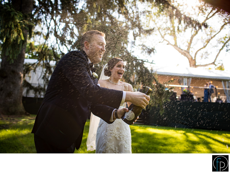 Bride and Groom Having Fun At Their Knox Estate Wedding