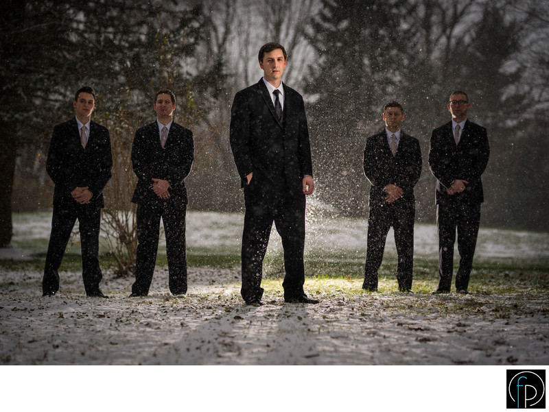 Groom Portrait At A Snowy Delaware Wedding