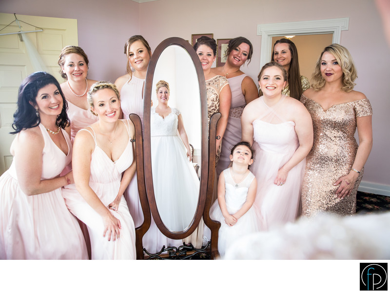 Bridesmaids Seeing The Bride At Springton Manor Farm