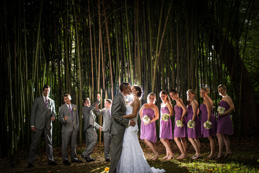 Wedding Party Photo Near The Bamboo At The Old Mill
