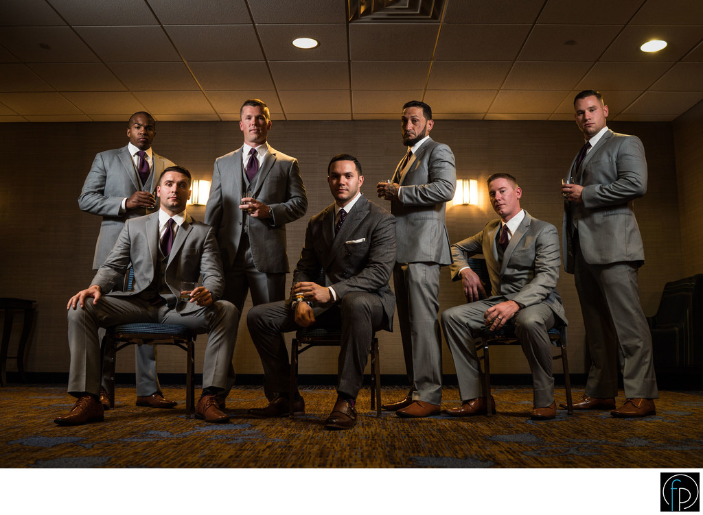 Groomsmen Portrait At Radnor Hotel Wedding