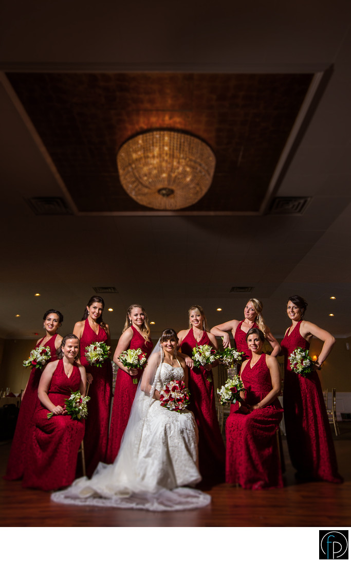 Bride and bridesmaids portrait at a Penn Oaks Wedding