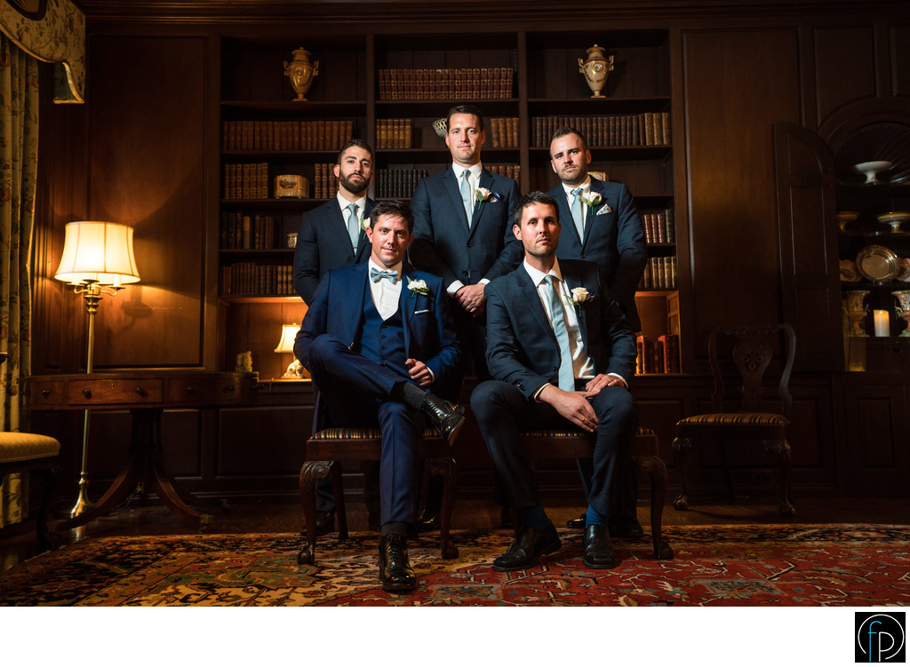 Groomsmen Portrait At An Appleford Estate Wedding