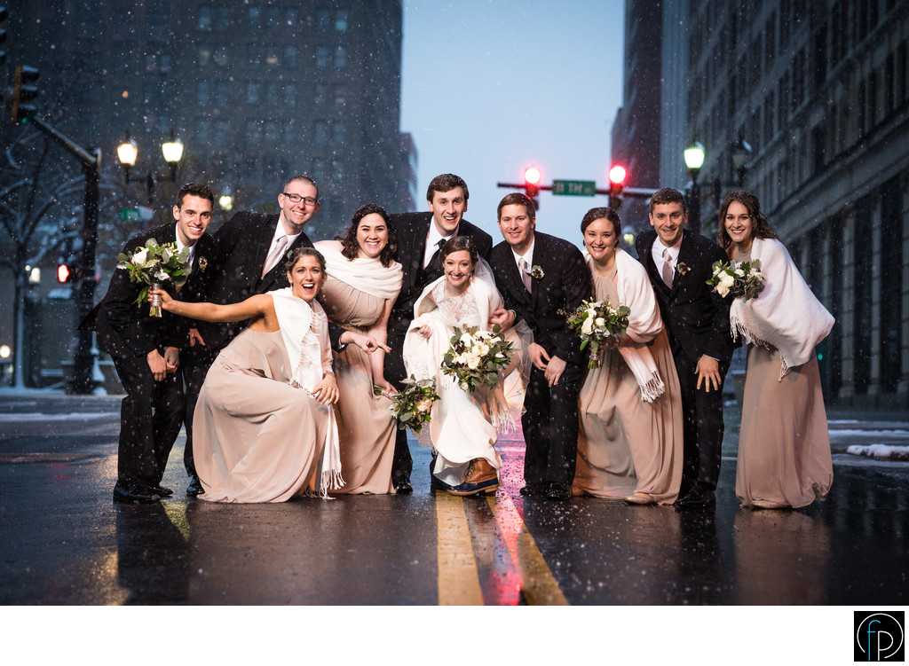 Bridal Party Portrait Outside of Hotel DuPont Wedding