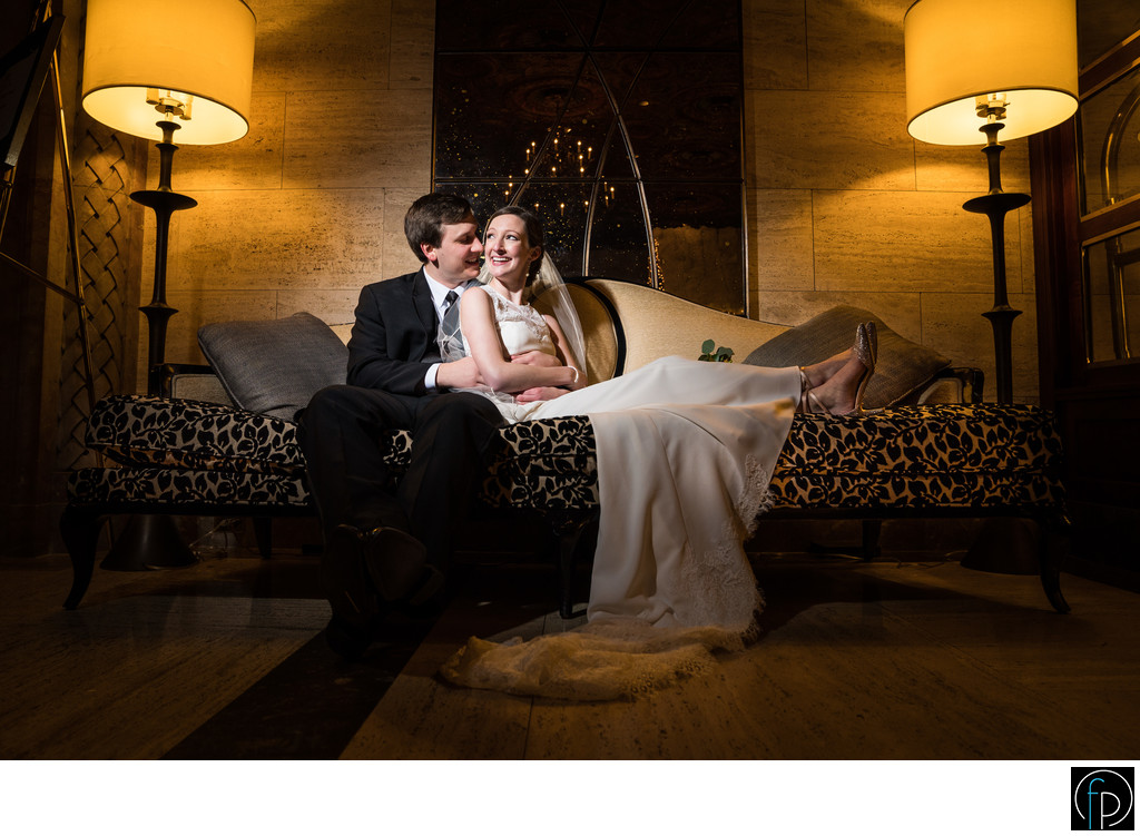 Bride and Groom Portrait In The Hotel Dupont Lobby