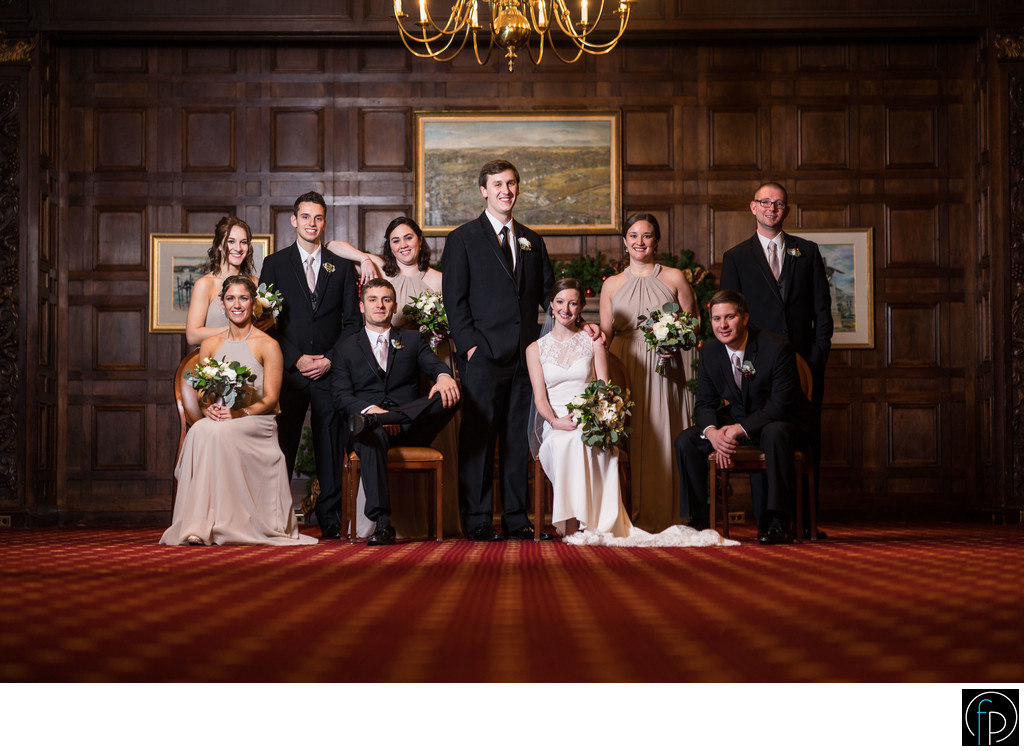 Wedding Party Portraits Inside Hotel DuPont