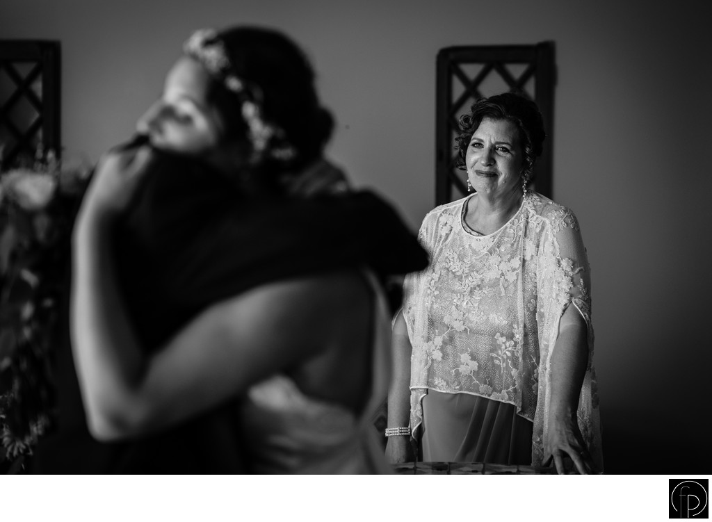 Brides Mother Crying During Bride and Father First Look