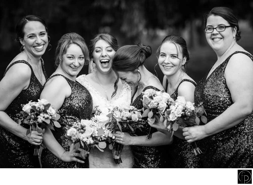 Bridesmaids Photo At A Downingtown Country Club Wedding