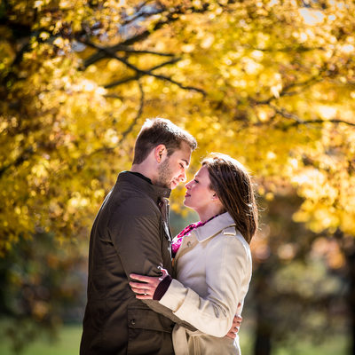 Intimate Fall Engagement Photo At Longwood Gardens