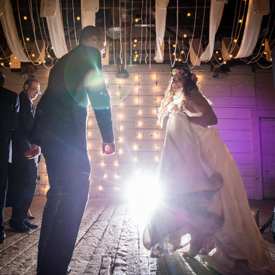 Bride and Groom Dancing At Terrain In Glen Mills PA