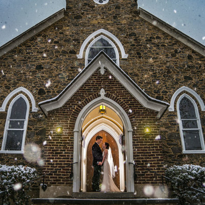 Bride and Groom Winter portrait at a Delaware Wedding