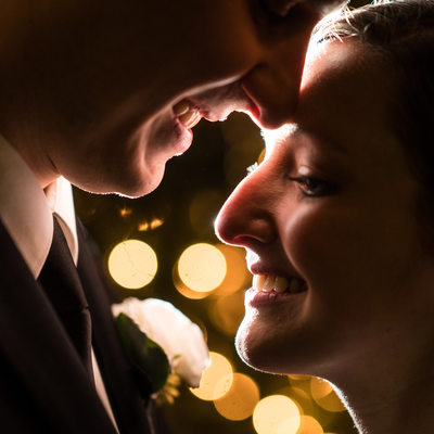 Romantic bride and groom portrait at the Hotel Dupont