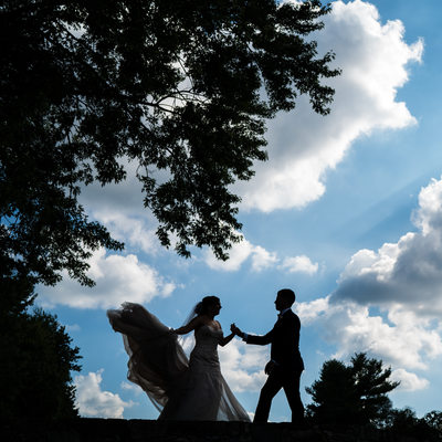 Bride and Groom Silhouette at Downingtown Country Club