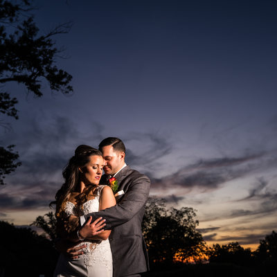 Bride and Groom Sunset Portrait at Audubon Mill Grove