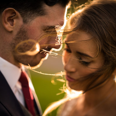 Romantic Sunset Portrait At A Bally Spring Inn Wedding