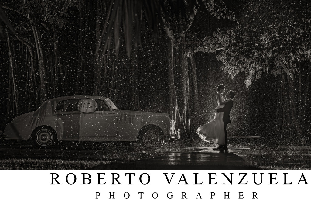 Ringling Museum Rain Wedding Photograph at Night