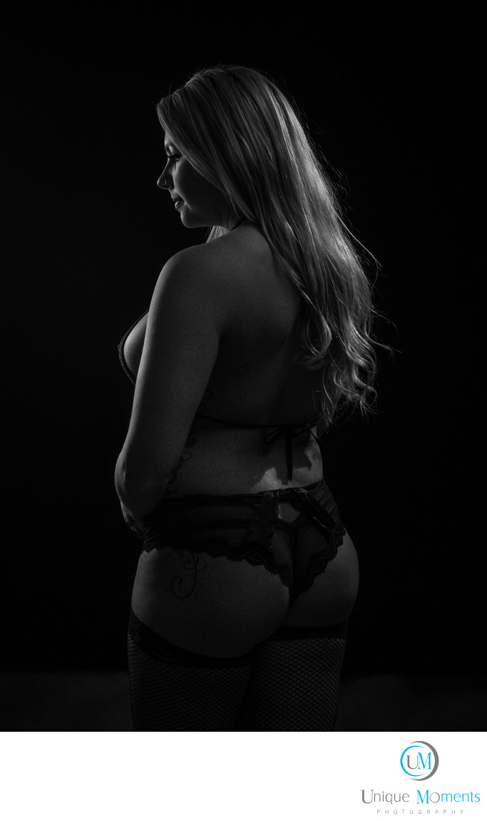 Boudoir portraits low key rim lighting Gig Harbor WA
