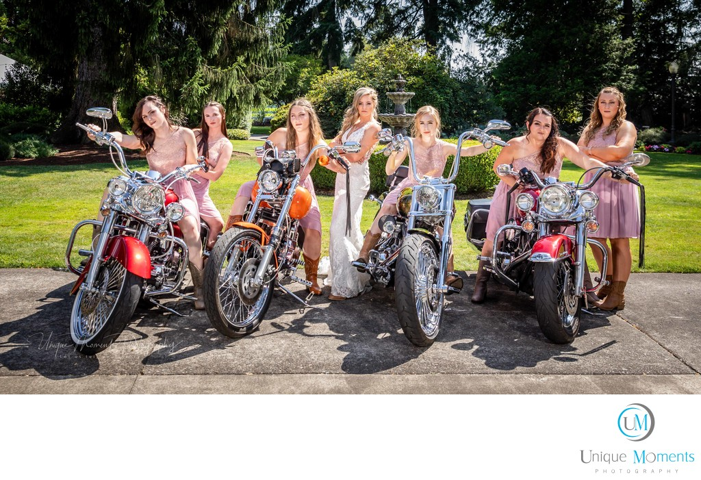 Bridal party portrait with Harley Davidsons