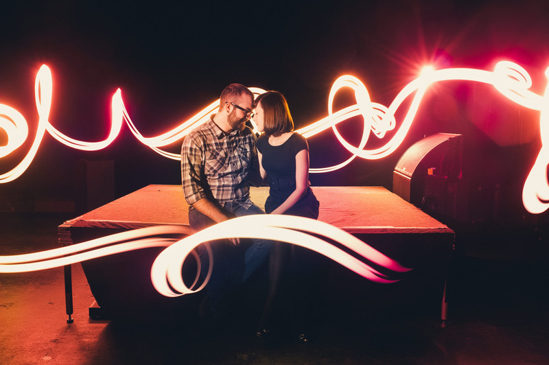 Philadelphia Engagement Photos with Lightpainting