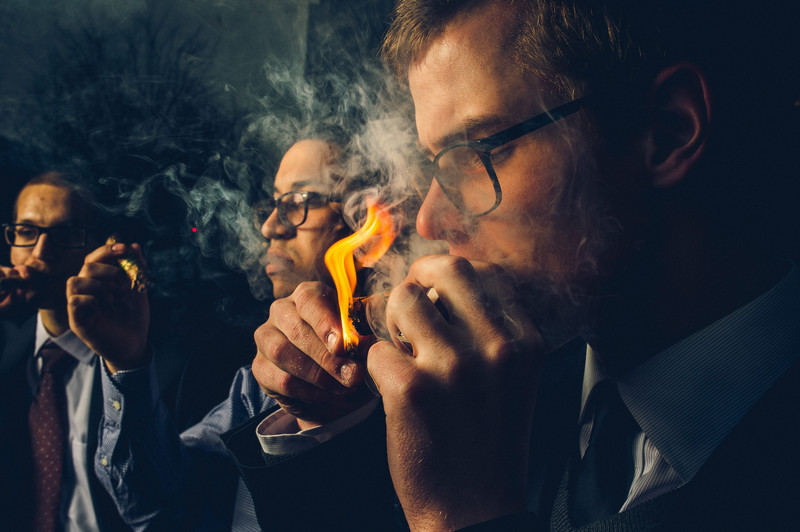 Cigar Smoking Groom and Groomsmen